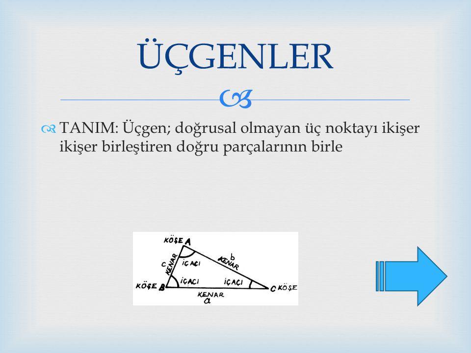   TANIM: Üçgen; doğrusal olmayan üç noktayı ikişer ikişer birleştiren doğru parçalarının birle ÜÇGENLER