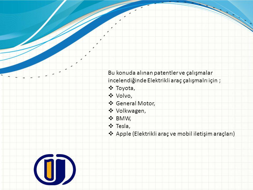 Bu konuda alınan patentler ve çalışmalar incelendiğinde Elektrikli araç çalışmalrı için ;  Toyota,  Volvo,  General Motor,  Volkwagen,  BMW,  Te