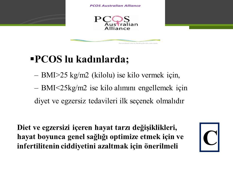  PCOS lu kadınlarda; –BMI>25 kg/m2 (kilolu) ise kilo vermek için, –BMI<25kg/m2 ise kilo alımını engellemek için diyet ve egzersiz tedavileri ilk seçe