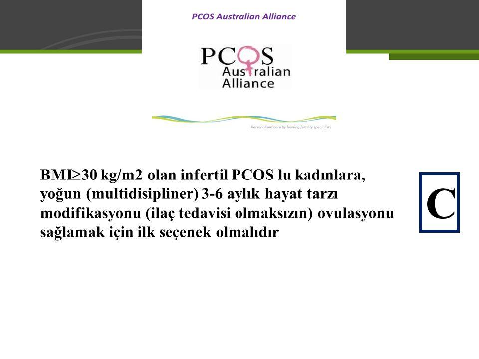 BMI  30 kg/m2 olan infertil PCOS lu kadınlara, yoğun (multidisipliner) 3-6 aylık hayat tarzı modifikasyonu (ilaç tedavisi olmaksızın) ovulasyonu sağl