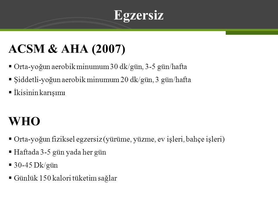 ACSM & AHA (2007)  Orta-yoğun aerobik minumum 30 dk/gün, 3-5 gün/hafta  Şiddetli-yoğun aerobik minumum 20 dk/gün, 3 gün/hafta  İkisinin karışımı WH