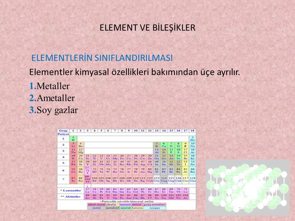 ELEMENT VE BİLEŞİKLER ELEMENTLERİN SINIFLANDIRILMASI Elementler kimyasal özellikleri bakımından üçe ayrılır.
