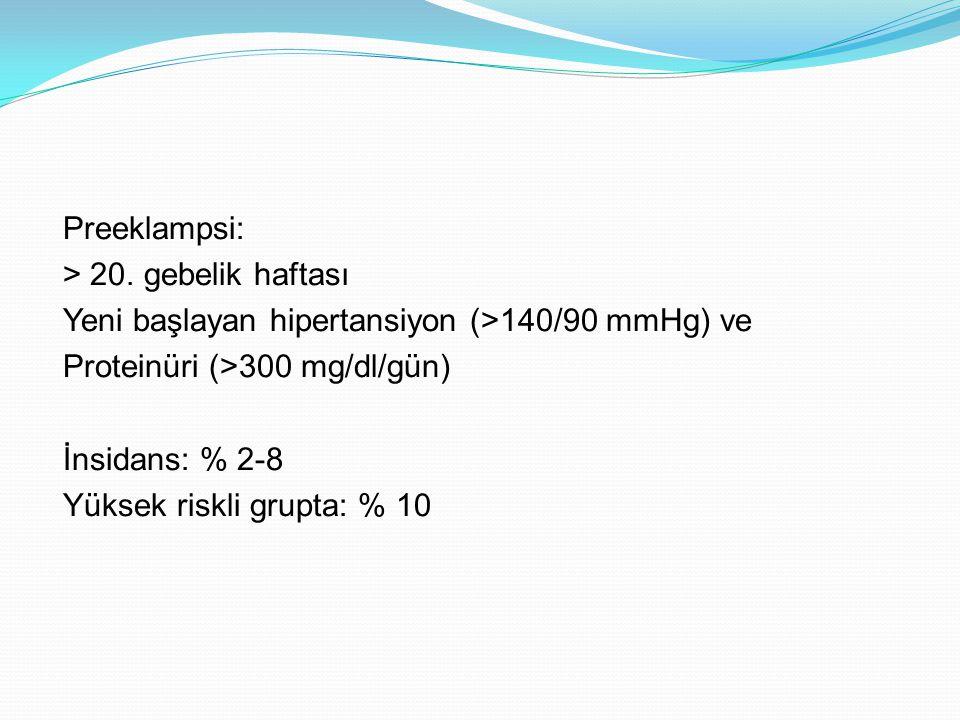 ADAM12, f β-HCG, Inhibin A, Aktivin A, PP13, PlGF ve PAPP-A + Uterin Arter Doppler: Tek belirteç : % 22-83 Multipl marker: % 38-% 100 Obstet Gynecol 2011