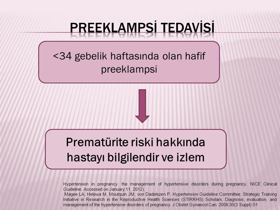 <34 gebelik haftasında olan hafif preeklampsi Prematürite riski hakkında hastayı bilgilendir ve izlem Hypertension in pregnancy: the management of hypertensive disorders during pregnancy.