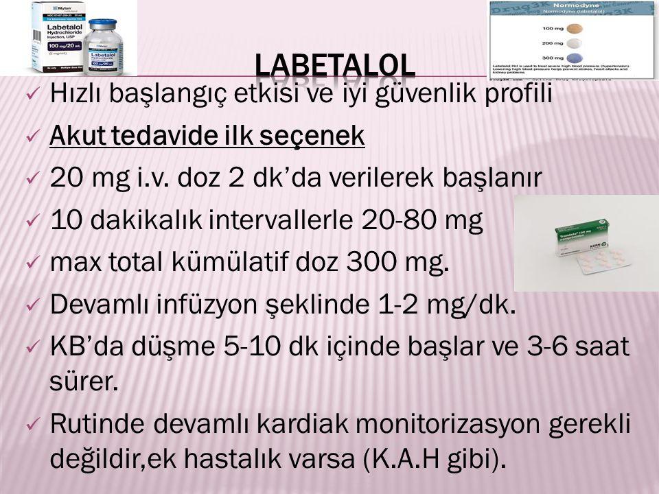 Hızlı başlangıç etkisi ve iyi güvenlik profili Akut tedavide ilk seçenek 20 mg i.v. doz 2 dk'da verilerek başlanır 10 dakikalık intervallerle 20-80 mg