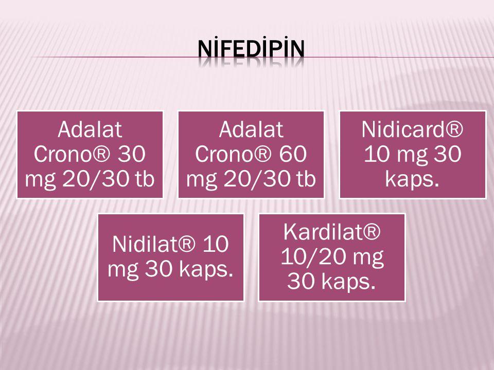 Adalat Crono® 30 mg 20/30 tb Adalat Crono® 60 mg 20/30 tb Nidicard® 10 mg 30 kaps. Nidilat® 10 mg 30 kaps. Kardilat® 10/20 mg 30 kaps.