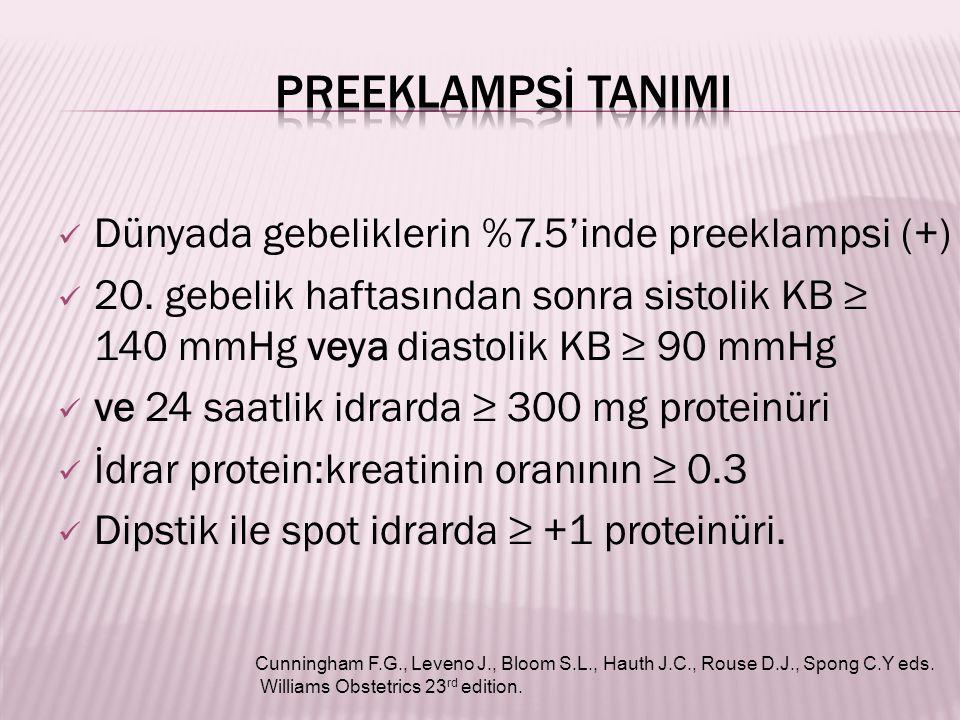 Dünyada gebeliklerin %7.5'inde preeklampsi (+) 20. gebelik haftasından sonra sistolik KB ≥ 140 mmHg veya diastolik KB ≥ 90 mmHg ve 24 saatlik idrarda