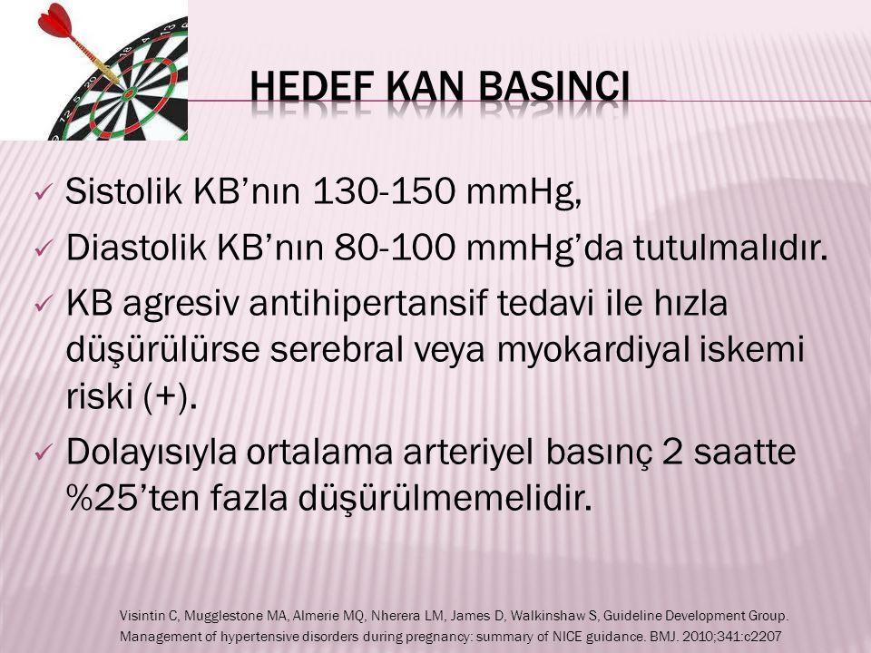 Sistolik KB'nın 130-150 mmHg, Diastolik KB'nın 80-100 mmHg'da tutulmalıdır. KB agresiv antihipertansif tedavi ile hızla düşürülürse serebral veya myok