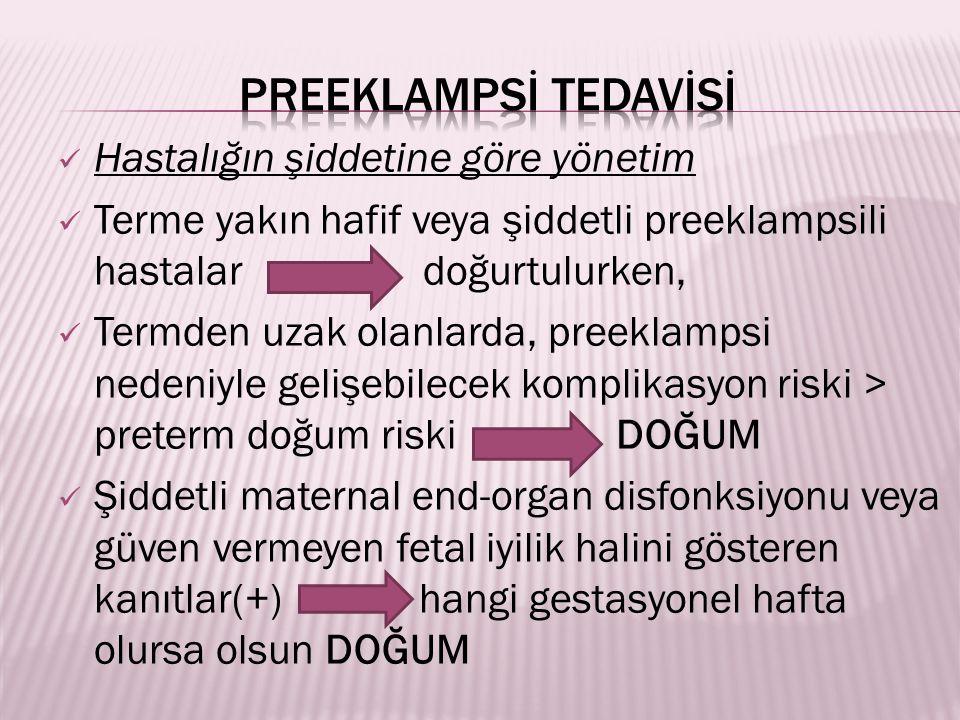 Hastalığın şiddetine göre yönetim Terme yakın hafif veya şiddetli preeklampsili hastalar doğurtulurken, Termden uzak olanlarda, preeklampsi nedeniyle gelişebilecek komplikasyon riski > preterm doğum riski DOĞUM Şiddetli maternal end-organ disfonksiyonu veya güven vermeyen fetal iyilik halini gösteren kanıtlar(+) hangi gestasyonel hafta olursa olsun DOĞUM