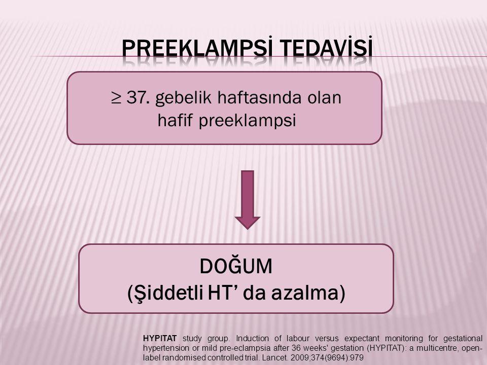 Nifedipin Nikardipin (i.v formu+) Şiddetli HT (+) %70'inde 23 dk, %91'inde 130 dk içinde hedef KB'a ciddi maternal veya fetal yan etkiye yol açmaksızın ulaşılabilmektedir.