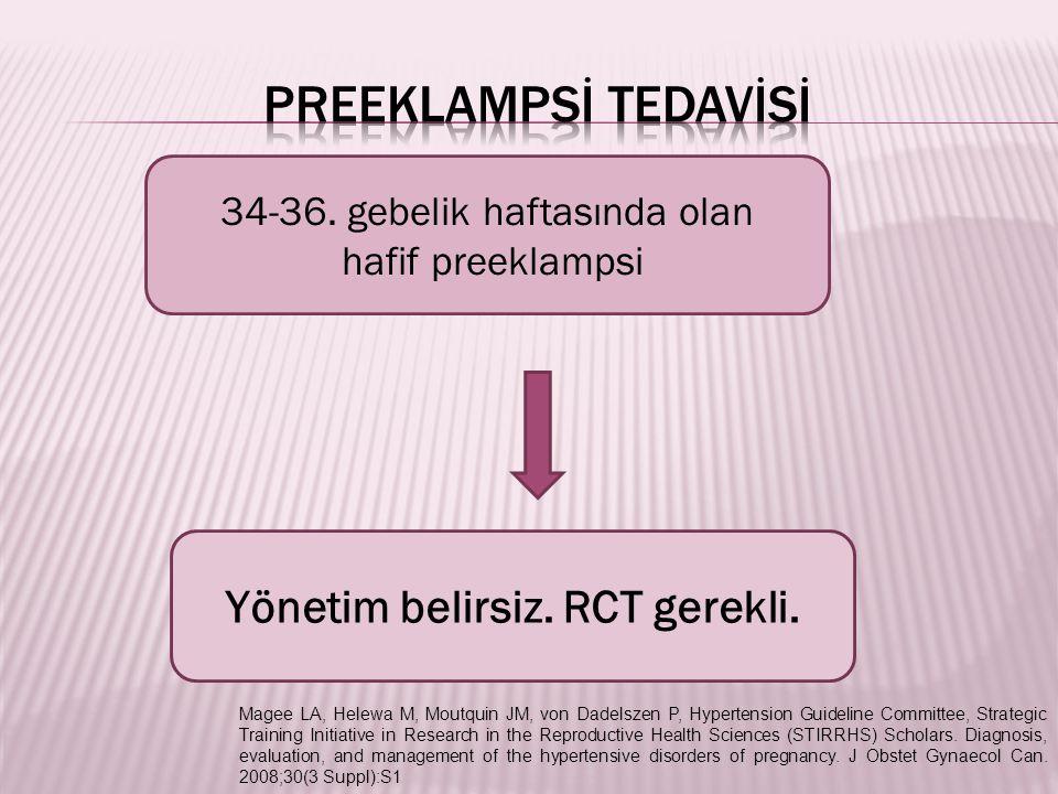 34-36. gebelik haftasında olan hafif preeklampsi Yönetim belirsiz. RCT gerekli. Magee LA, Helewa M, Moutquin JM, von Dadelszen P, Hypertension Guideli