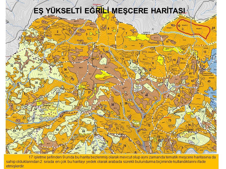 17 işletme şefinden 9 unda bu harita bezlenmiş olarak mevcut olup aynı zamanda tematik meşcere haritasına da sahip olduklarından 2.