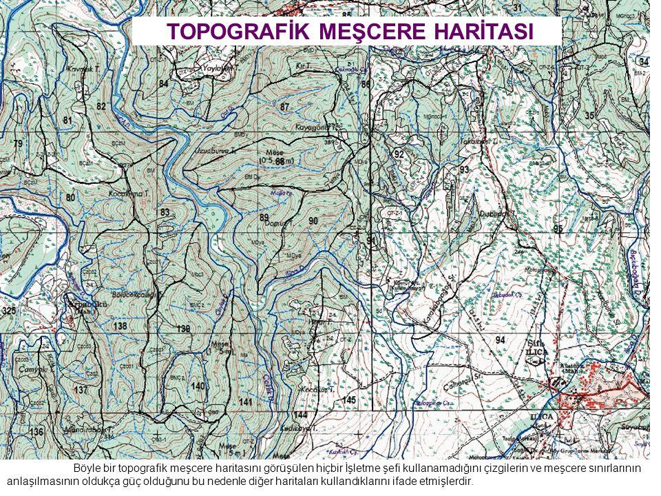 Böyle bir topografik meşcere haritasını görüşülen hiçbir İşletme şefi kullanamadığını çizgilerin ve meşcere sınırlarının anlaşılmasının oldukça güç olduğunu bu nedenle diğer haritaları kullandıklarını ifade etmişlerdir.