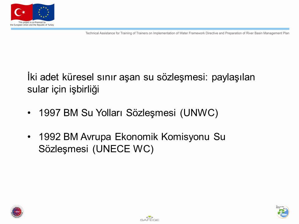 İki adet küresel sınır aşan su sözleşmesi: paylaşılan sular için işbirliği 1997 BM Su Yolları Sözleşmesi (UNWC) 1992 BM Avrupa Ekonomik Komisyonu Su Sözleşmesi (UNECE WC)