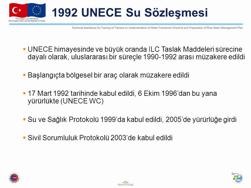 1992 UNECE Su Sözleşmesi  UNECE himayesinde ve büyük oranda ILC Taslak Maddeleri sürecine dayalı olarak, uluslararası bir süreçle 1990-1992 arası müzakere edildi  Başlangıçta bölgesel bir araç olarak müzakere edildi  17 Mart 1992 tarihinde kabul edildi, 6 Ekim 1996'dan bu yana yürürlükte (UNECE WC)  Su ve Sağlık Protokolü 1999'da kabul edildi, 2005'de yürürlüğe girdi  Sivil Sorumluluk Protokolü 2003'de kabul edildi