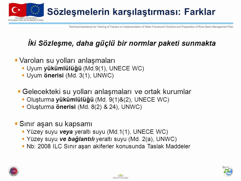 Sözleşmelerin karşılaştırması: Farklar İki Sözleşme, daha güçlü bir normlar paketi sunmakta  Varolan su yolları anlaşmaları  Uyum yükümlülüğü (Md.9(1), UNECE WC)  Uyum önerisi (Md.