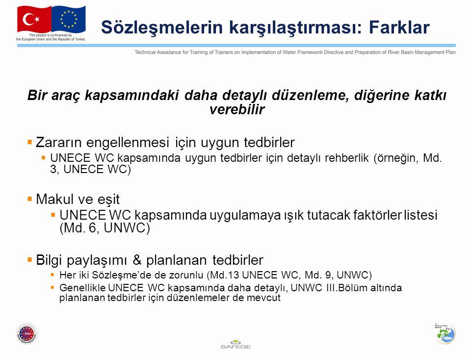 Sözleşmelerin karşılaştırması: Farklar Bir araç kapsamındaki daha detaylı düzenleme, diğerine katkı verebilir  Zararın engellenmesi için uygun tedbirler  UNECE WC kapsamında uygun tedbirler için detaylı rehberlik (örneğin, Md.