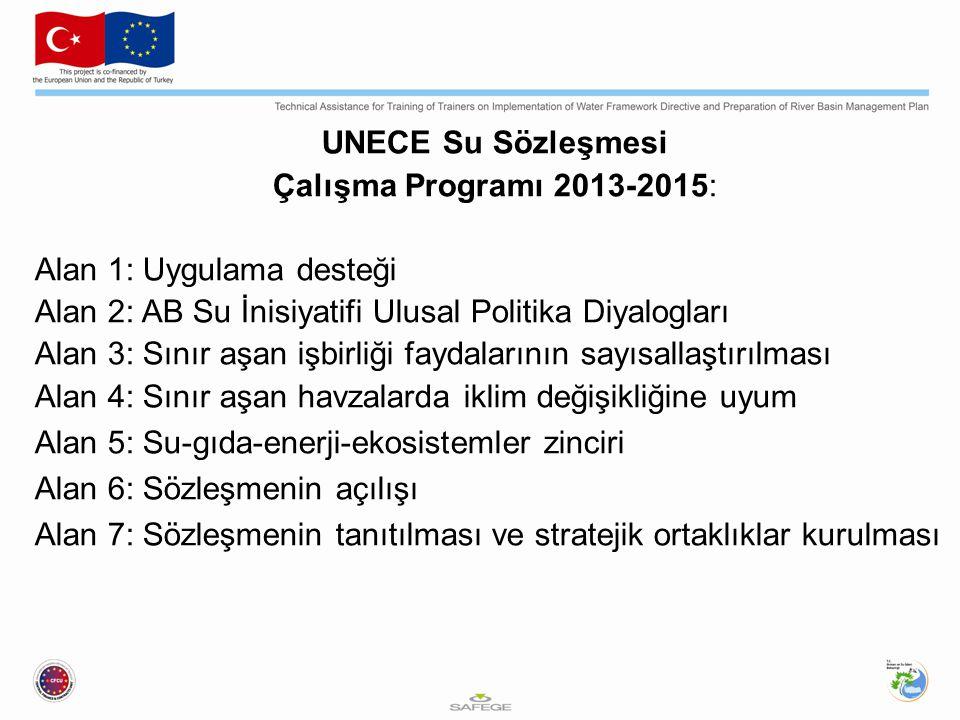UNECE Su Sözleşmesi Çalışma Programı 2013-2015: Alan 1: Uygulama desteği Alan 2: AB Su İnisiyatifi Ulusal Politika Diyalogları Alan 3: Sınır aşan işbirliği faydalarının sayısallaştırılması Alan 4: Sınır aşan havzalarda iklim değişikliğine uyum Alan 5: Su-gıda-enerji-ekosistemler zinciri Alan 6: Sözleşmenin açılışı Alan 7: Sözleşmenin tanıtılması ve stratejik ortaklıklar kurulması