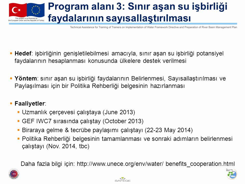 Hedef: işbirliğinin genişletilebilmesi amacıyla, sınır aşan su işbirliği potansiyel faydalarının hesaplanması konusunda ülkelere destek verilmesi  Yöntem: sınır aşan su işbirliği faydalarının Belirlenmesi, Sayısallaştırılması ve Paylaşılması için bir Politika Rehberliği belgesinin hazırlanması  Faaliyetler:  Uzmanlık çerçevesi çalıştaya (June 2013)  GEF IWC7 sırasında çalıştay (October 2013)  Biraraya gelme & tecrübe paylaşımı çalıştayı (22-23 May 2014)  Politika Rehberliği belgesinin tamamlanması ve sonraki adımların belirlenmesi çalıştayı (Nov.