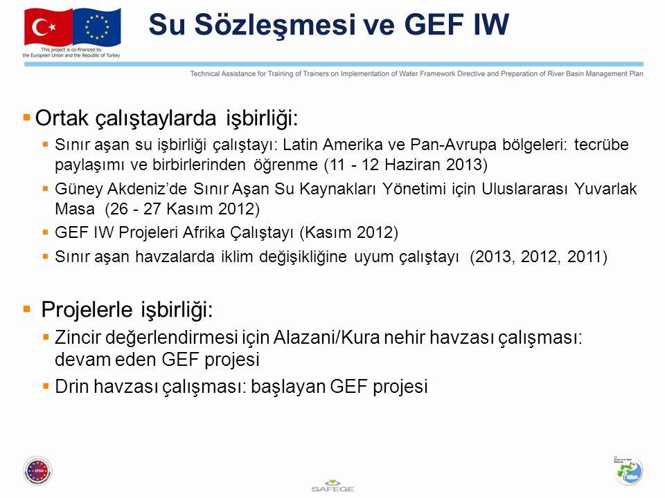 Su Sözleşmesi ve GEF IW  Ortak çalıştaylarda işbirliği:  Sınır aşan su işbirliği çalıştayı: Latin Amerika ve Pan-Avrupa bölgeleri: tecrübe paylaşımı ve birbirlerinden öğrenme (11 - 12 Haziran 2013)  Güney Akdeniz'de Sınır Aşan Su Kaynakları Yönetimi için Uluslararası Yuvarlak Masa (26 - 27 Kasım 2012)  GEF IW Projeleri Afrika Çalıştayı (Kasım 2012)  Sınır aşan havzalarda iklim değişikliğine uyum çalıştayı (2013, 2012, 2011)  Projelerle işbirliği:  Zincir değerlendirmesi için Alazani/Kura nehir havzası çalışması: devam eden GEF projesi  Drin havzası çalışması: başlayan GEF projesi