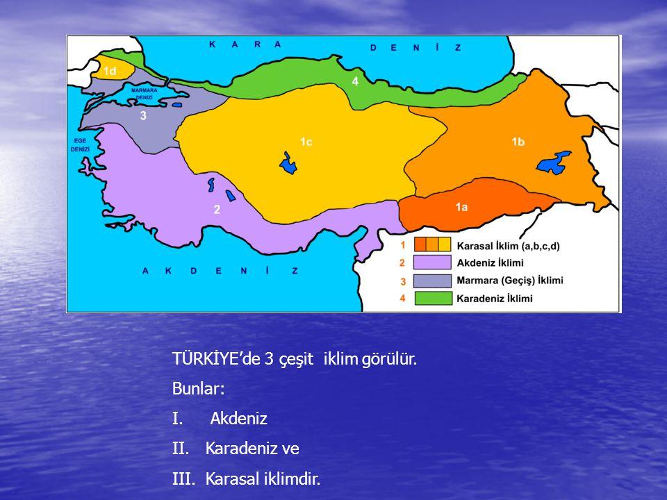 TÜRKİYE'de 3 çeşit iklim görülür. Bunlar: I. Akdeniz II.Karadeniz ve III.Karasal iklimdir.