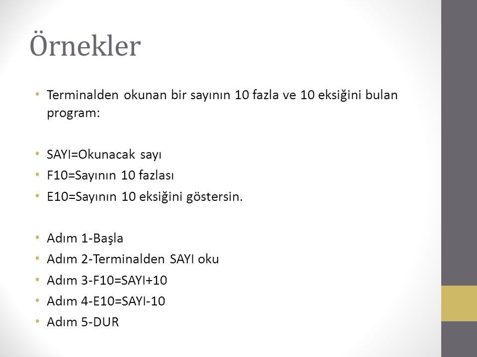 Örnekler Terminalden okunan bir sayının 10 fazla ve 10 eksiğini bulan program: SAYI=Okunacak sayı F10=Sayının 10 fazlası E10=Sayının 10 eksiğini göste