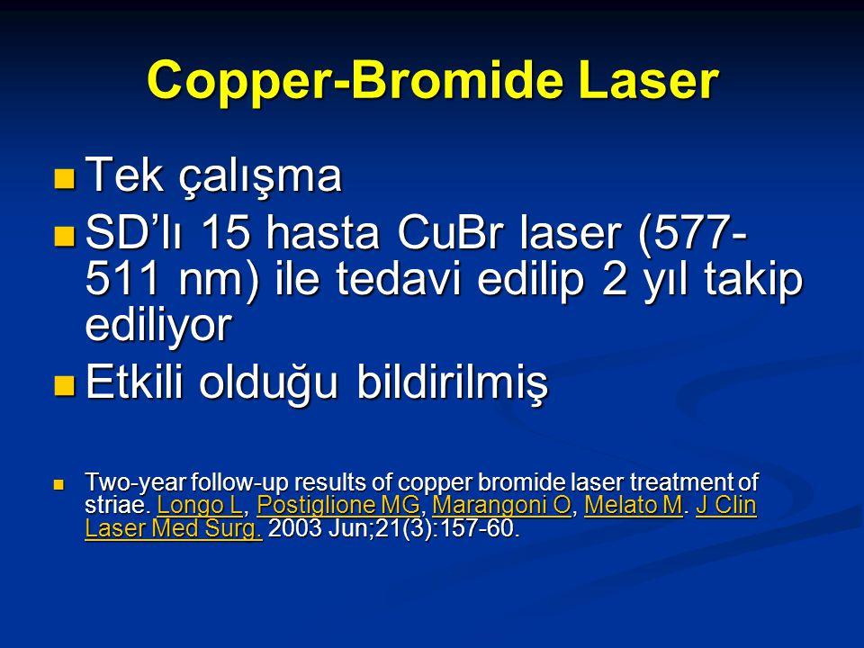 Copper-Bromide Laser Tek çalışma Tek çalışma SD'lı 15 hasta CuBr laser (577- 511 nm) ile tedavi edilip 2 yıl takip ediliyor SD'lı 15 hasta CuBr laser