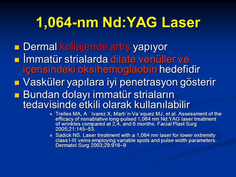1,064-nm Nd:YAG Laser Dermal kollajende artış yapıyor Dermal kollajende artış yapıyor İmmatür strialarda dilate venüller ve içerisindeki oksihemoglaob