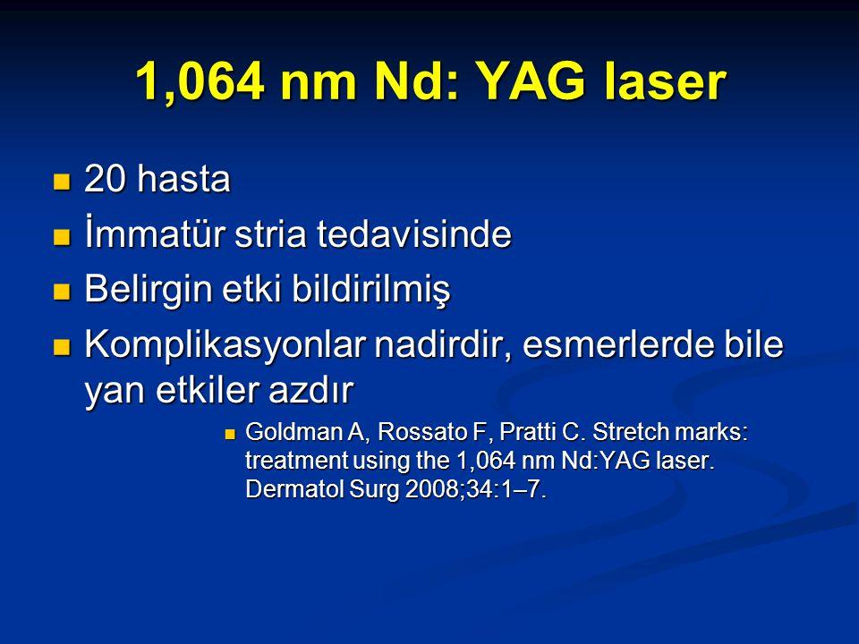 1,064 nm Nd: YAG laser 20 hasta 20 hasta İmmatür stria tedavisinde İmmatür stria tedavisinde Belirgin etki bildirilmiş Belirgin etki bildirilmiş Kompl