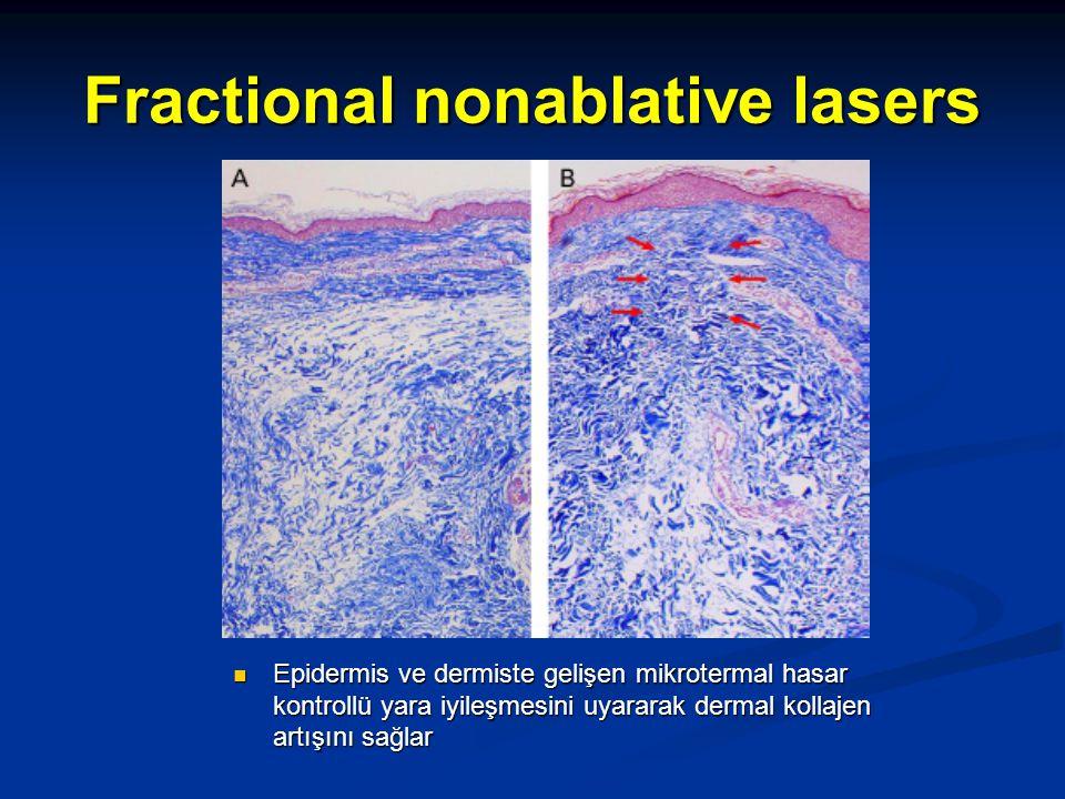 Fractional nonablative lasers Epidermis ve dermiste gelişen mikrotermal hasar kontrollü yara iyileşmesini uyararak dermal kollajen artışını sağlar