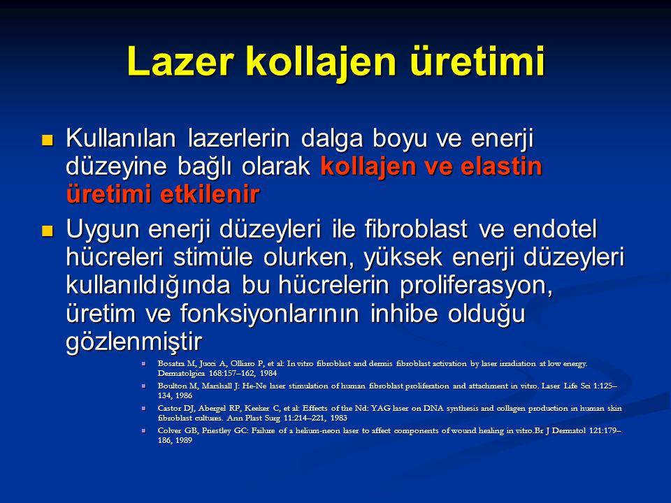Lazer kollajen üretimi Kullanılan lazerlerin dalga boyu ve enerji düzeyine bağlı olarak kollajen ve elastin üretimi etkilenir Kullanılan lazerlerin da