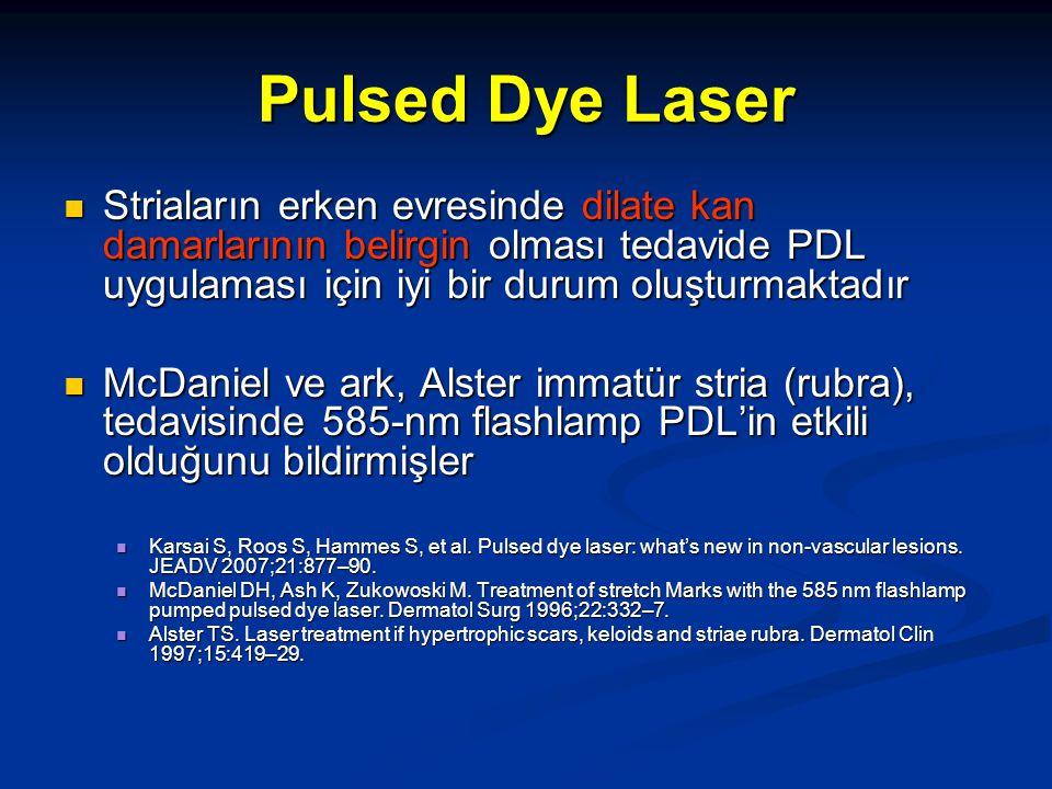 Pulsed Dye lazer Extraselülar matrixte kollajen miktarını artırmaktadır Extraselülar matrixte kollajen miktarını artırmaktadır Jiminez ve ark'ları (deri tipi I –IV) 585 nm flashlamp PDL'in stria rubra ve alba tiplerinin tedavisinde etkili olduğunu bildirmişler Jiminez ve ark'ları (deri tipi I –IV) 585 nm flashlamp PDL'in stria rubra ve alba tiplerinin tedavisinde etkili olduğunu bildirmişler Koyu tenli kişilerde (tip VI-VI) pigmentasyon değişikliklerinden dolayı dikkatli kullanılmalıdır Koyu tenli kişilerde (tip VI-VI) pigmentasyon değişikliklerinden dolayı dikkatli kullanılmalıdır Jiminez GP, Flores F, Berman B, et al.