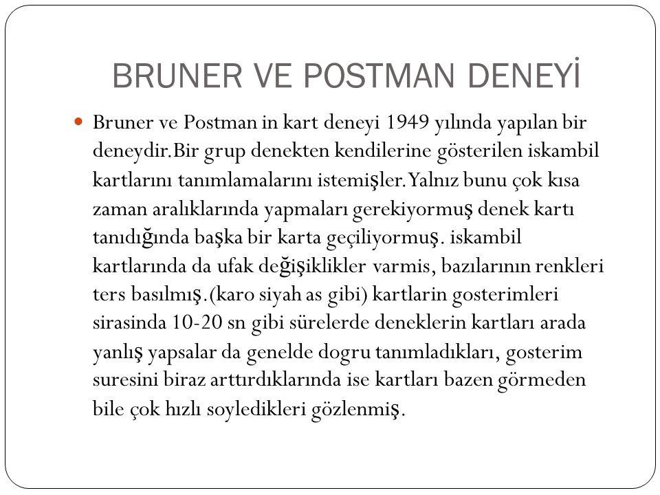 BRUNER VE POSTMAN DENEYİ Bruner ve Postman in kart deneyi 1949 yılında yapılan bir deneydir.Bir grup denekten kendilerine gösterilen iskambil kartları