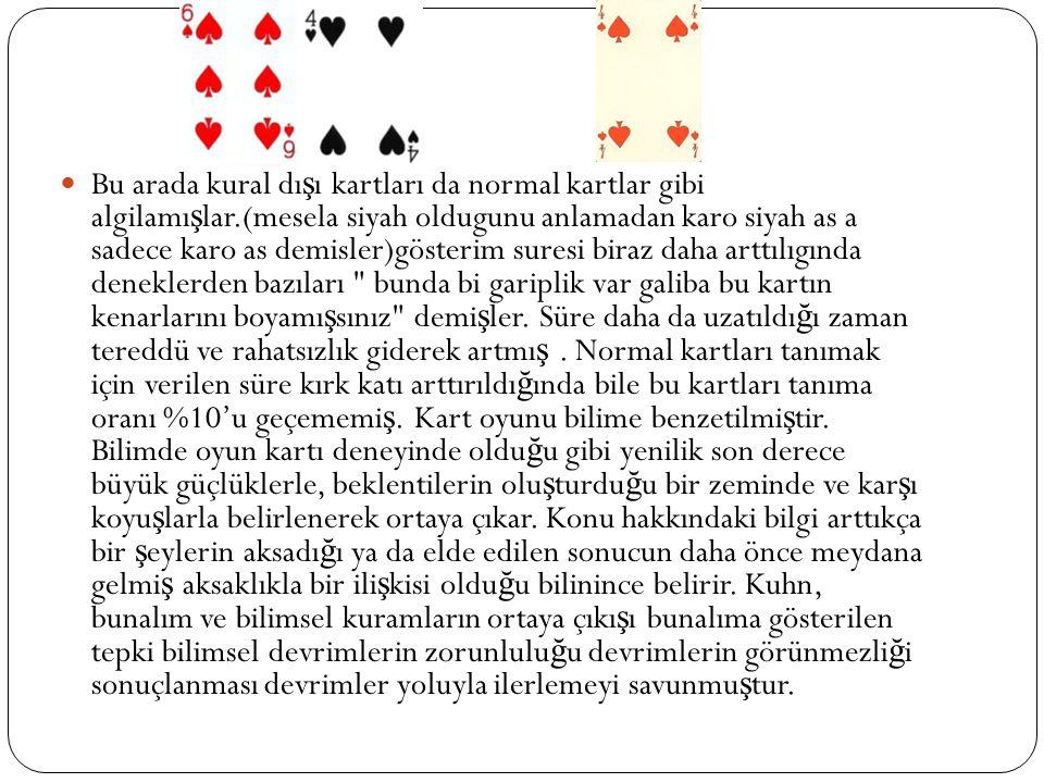 Bu arada kural dı ş ı kartları da normal kartlar gibi algilamı ş lar.(mesela siyah oldugunu anlamadan karo siyah as a sadece karo as demisler)gösterim
