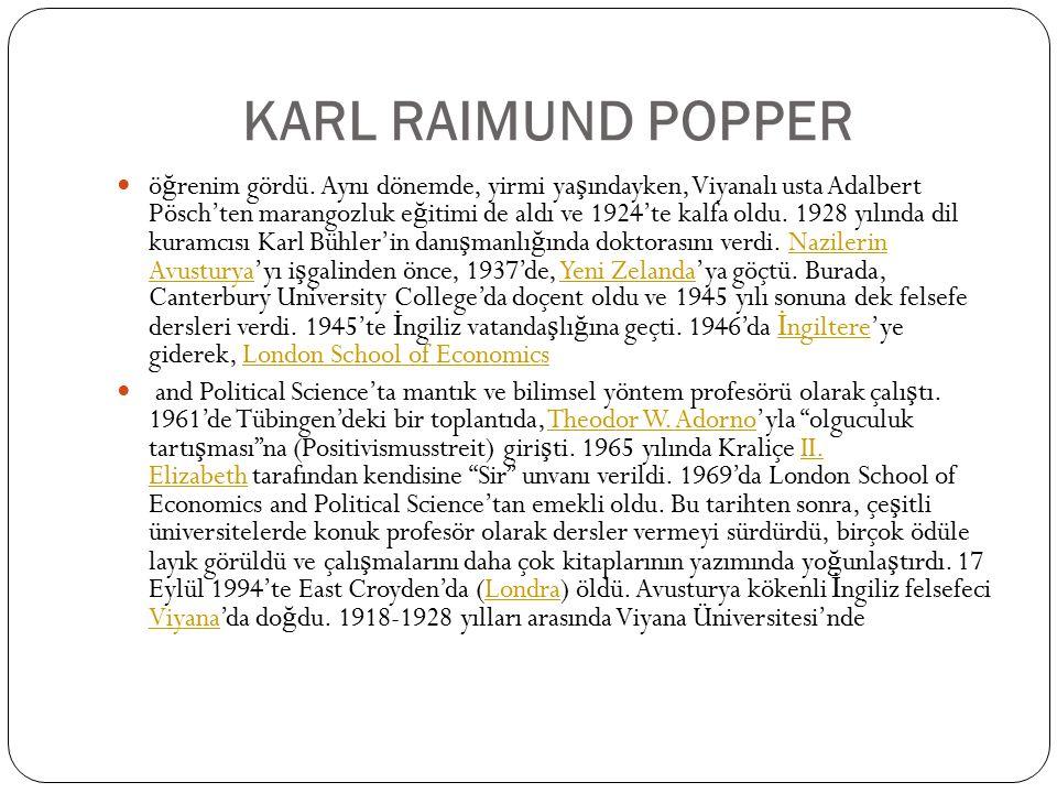 KARL RAIMUND POPPER ö ğ renim gördü. Aynı dönemde, yirmi ya ş ındayken, Viyanalı usta Adalbert Pösch'ten marangozluk e ğ itimi de aldı ve 1924'te kalf