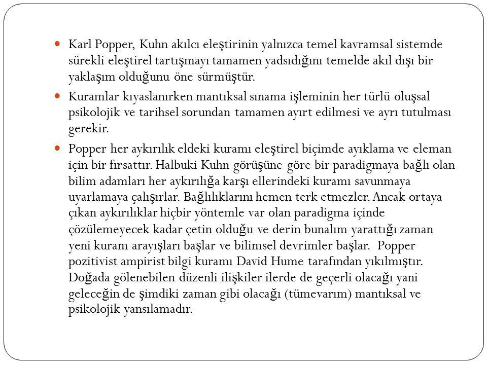 Karl Popper, Kuhn akılcı ele ş tirinin yalnızca temel kavramsal sistemde sürekli ele ş tirel tartı ş mayı tamamen yadsıdı ğ ını temelde akıl dı ş ı bi