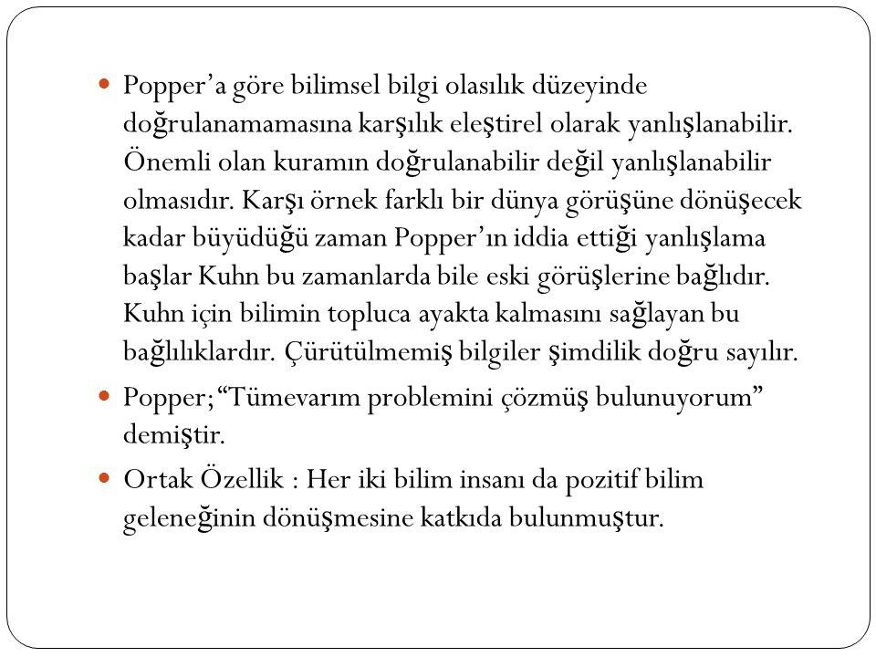 Popper'a göre bilimsel bilgi olasılık düzeyinde do ğ rulanamamasına kar ş ılık ele ş tirel olarak yanlı ş lanabilir. Önemli olan kuramın do ğ rulanabi
