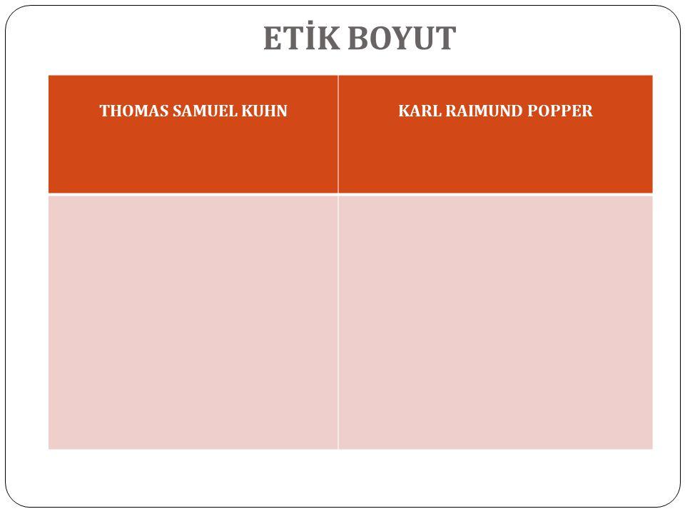 ETİK BOYUT THOMAS SAMUEL KUHNKARL RAIMUND POPPER