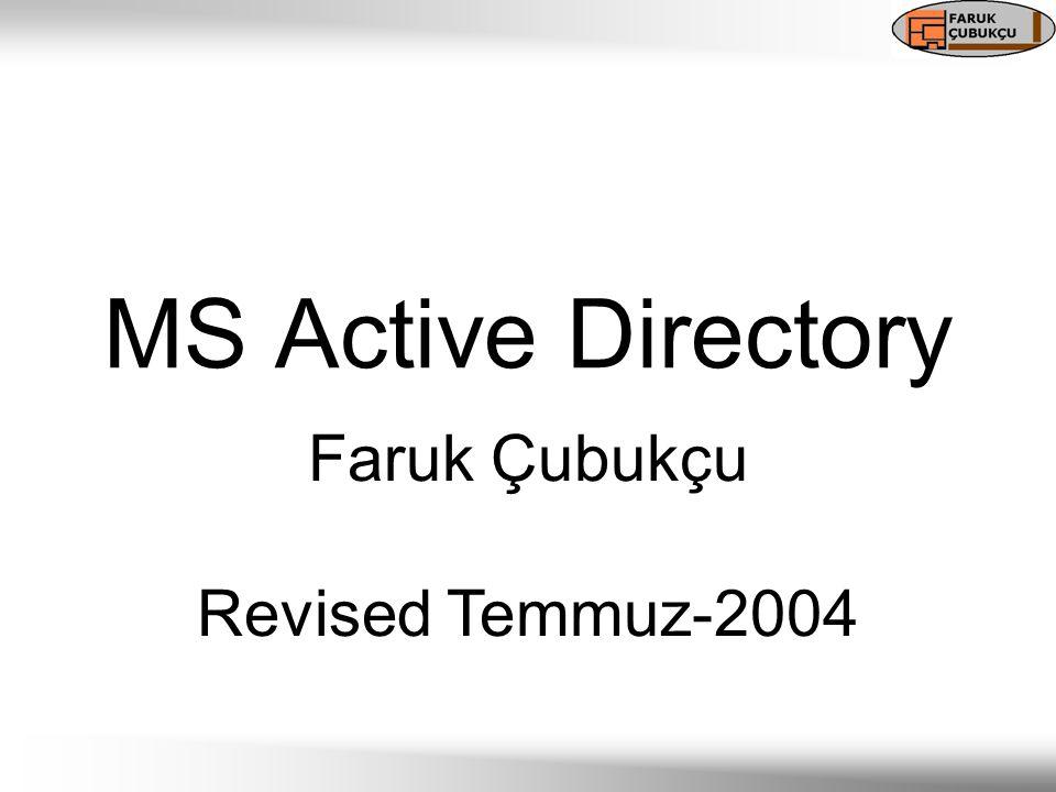 Active Directory Nedir.Windows 2000 ve Windows Server 2003 networkleri için geliştirilmiş.