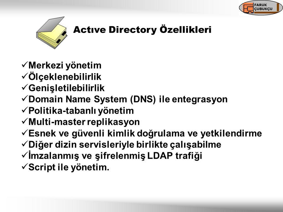 Actıve Directory Destekli Teknolojiler  DHCP (Dynamic Host Configuration Protocol)  DNS (Domain Name System)  LDAP (Lightweigth Directory Access Protocol)  Kerberos v5