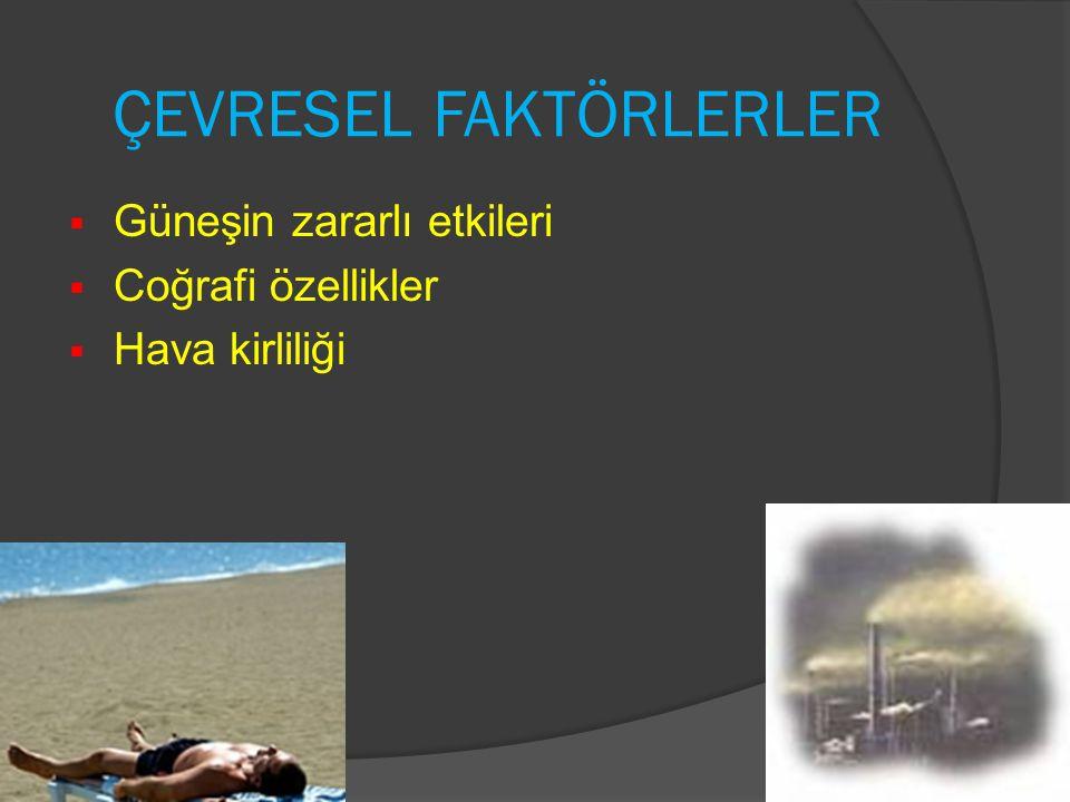 ÇEVRESEL FAKTÖRLERLER  Güneşin zararlı etkileri  Coğrafi özellikler  Hava kirliliği