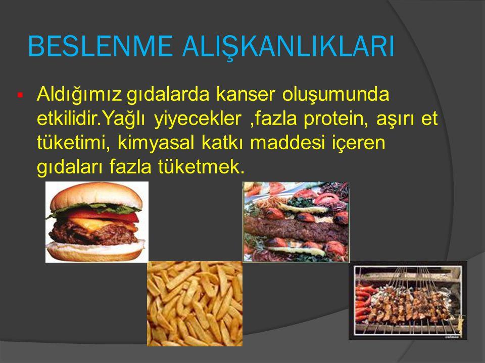 BESLENME ALIŞKANLIKLARI  Aldığımız gıdalarda kanser oluşumunda etkilidir.Yağlı yiyecekler,fazla protein, aşırı et tüketimi, kimyasal katkı maddesi iç