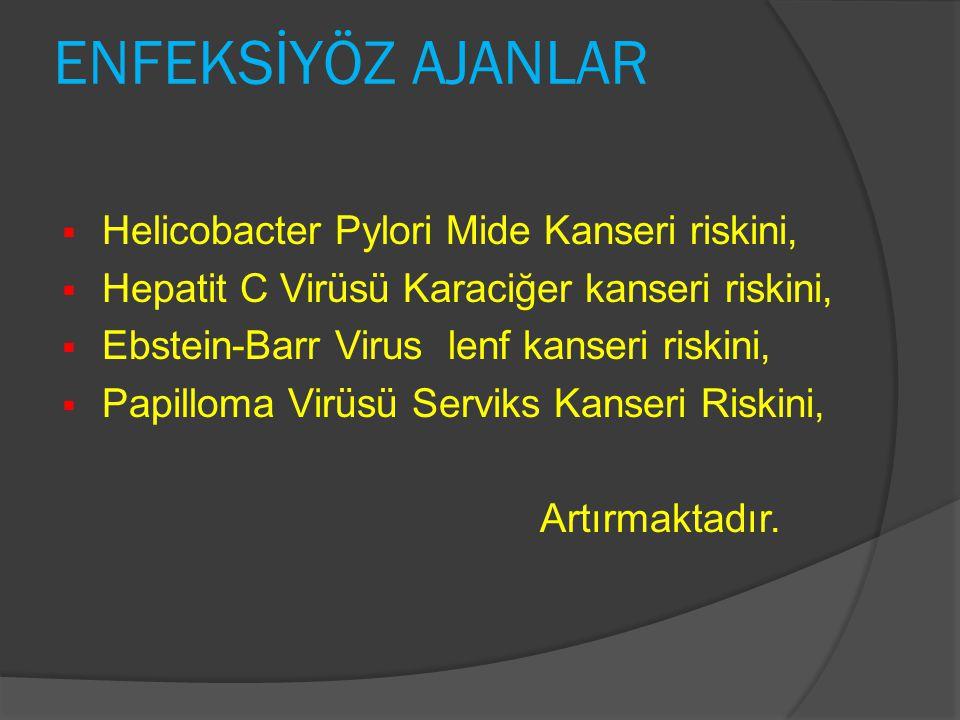 ENFEKSİYÖZ AJANLAR  Helicobacter Pylori Mide Kanseri riskini,  Hepatit C Virüsü Karaciğer kanseri riskini,  Ebstein-Barr Virus lenf kanseri riskini