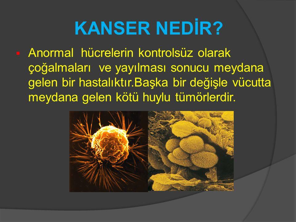  Anormal hücrelerin kontrolsüz olarak çoğalmaları ve yayılması sonucu meydana gelen bir hastalıktır.Başka bir değişle vücutta meydana gelen kötü huyl