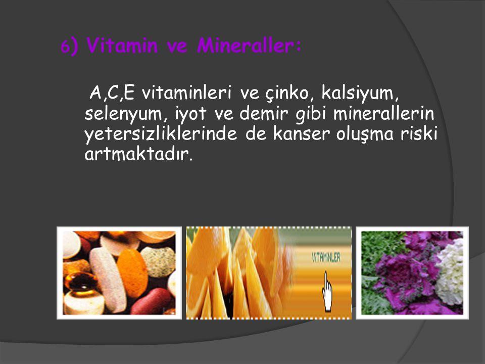 6 ) Vitamin ve Mineraller: A,C,E vitaminleri ve çinko, kalsiyum, selenyum, iyot ve demir gibi minerallerin yetersizliklerinde de kanser oluşma riski a