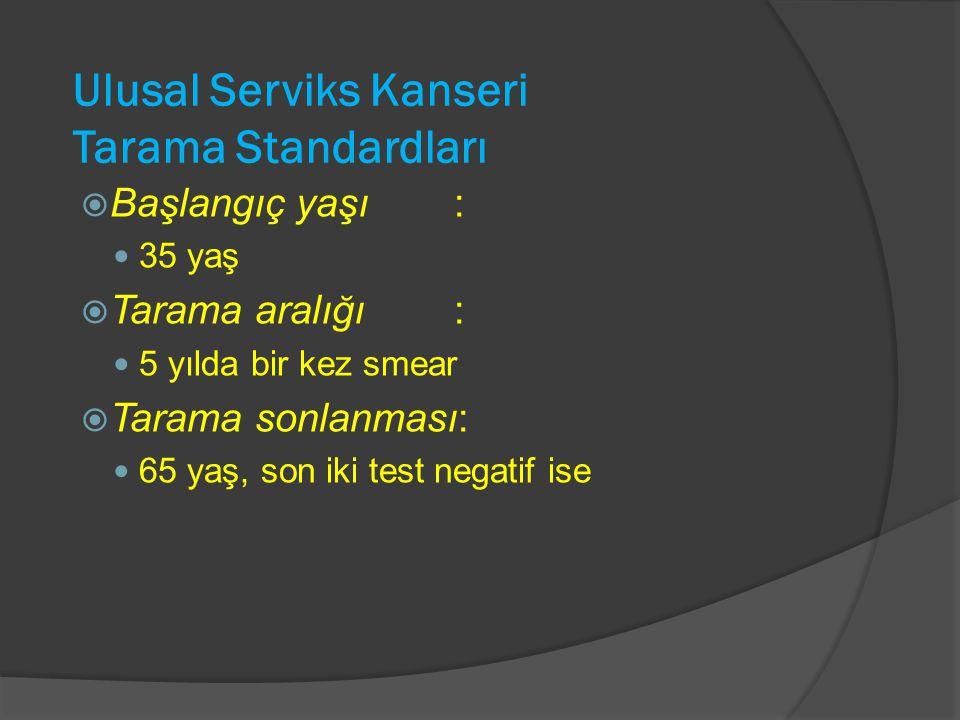 Ulusal Serviks Kanseri Tarama Standardları  Başlangıç yaşı: 35 yaş  Tarama aralığı: 5 yılda bir kez smear  Tarama sonlanması: 65 yaş, son iki test