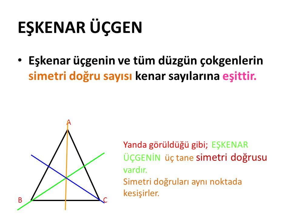 EŞKENAR ÜÇGEN Eşkenar üçgenin ve tüm düzgün çokgenlerin simetri doğru sayısı kenar sayılarına eşittir. A BC Yanda görüldüğü gibi; EŞKENAR ÜÇGENİN üç t