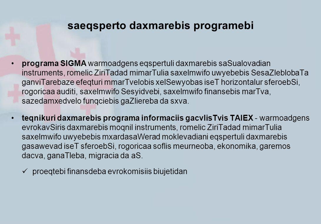 saeqsperto daxmarebis programebi programa SIGMA warmoadgens eqspertuli daxmarebis saSualovadian instruments, romelic ZiriTadad mimarTulia saxelmwifo u