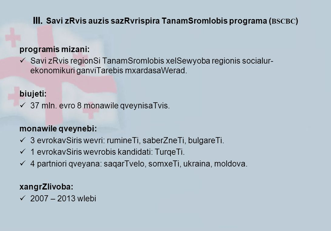 III. Savi zRvis auzis sazRvrispira TanamSromlobis programa ( BSCBC ) programis mizani: Savi zRvis regionSi TanamSromlobis xelSewyoba regionis socialur