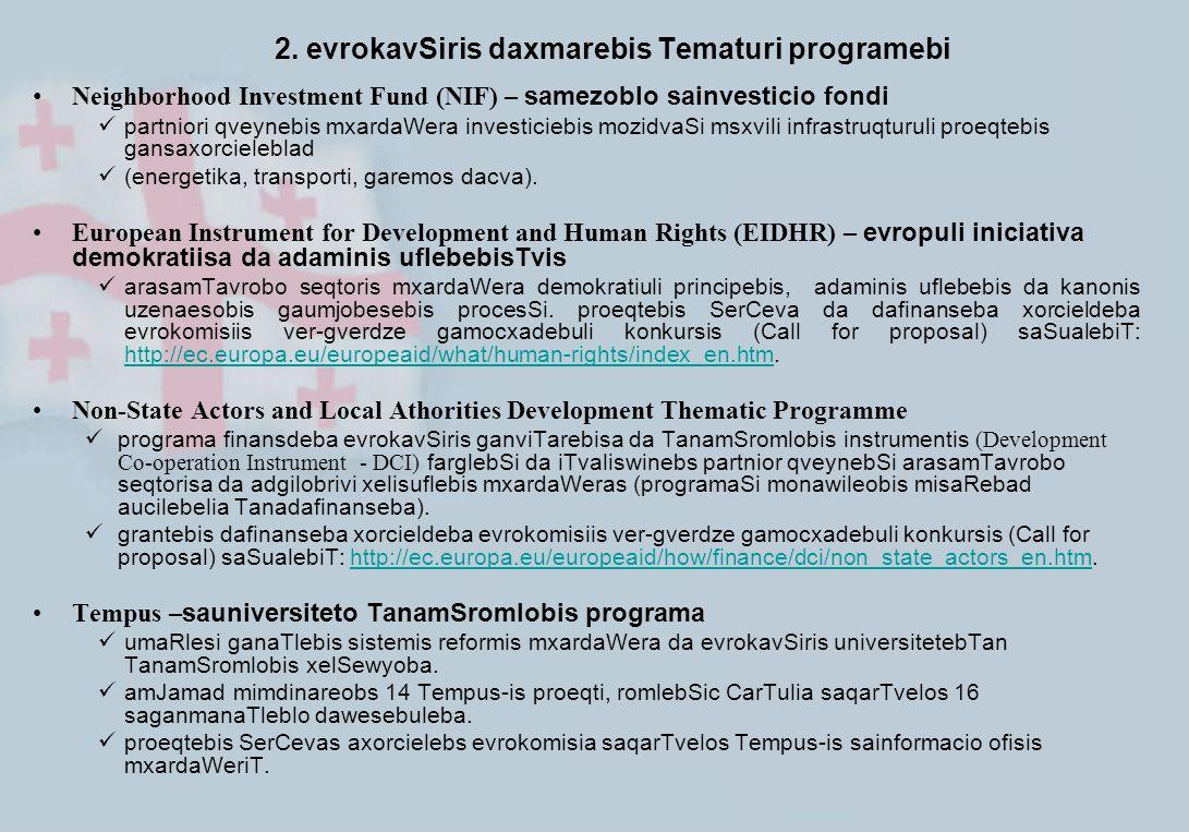 2. evrokavSiris daxmarebis Tematuri programebi Neighborhood Investment Fund (NIF) – samezoblo sainvesticio fondi partniori qveynebis mxardaWera invest